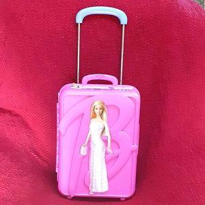 Vintage plastic Barbie trunk rolling suitcase